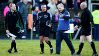 Micheal Donoghue speaks to referee James McGrath 10/1/2016