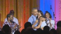 President Obama sings 'Happy Birthday' to his daughter at Fourth of July celebrations