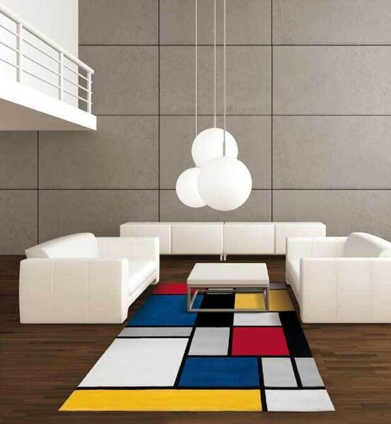 "The Spirit rug from Casey's Furniture (from €225) echoes what is probably the most famous colour blocking scheme of all - Piet Mondrian's ""Composition in Red, Blue and Yellow"" (1930)."