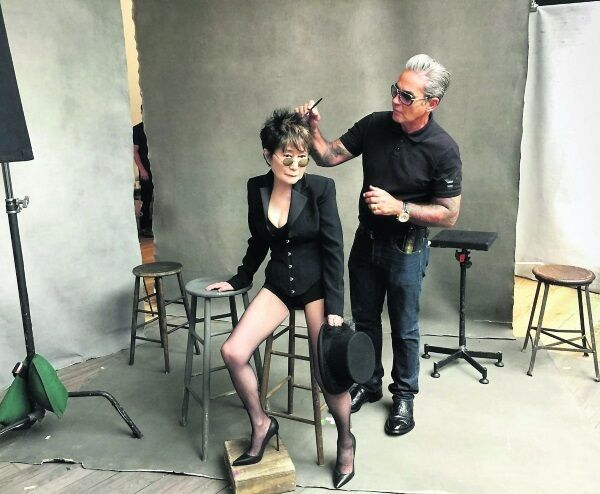 Yoko Ono gets ready for her photoshoot as part of the 2016 Pirelli calendar