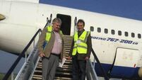 A funeral director has begun the mammoth task of transporting a jet to Sligo by sea