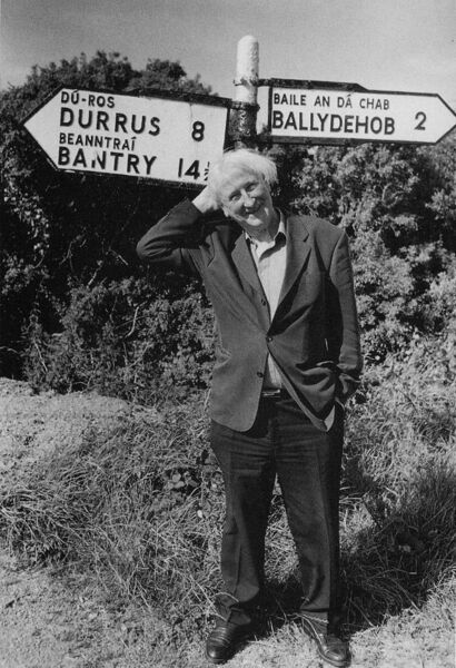 John Montague near his home in Ballydehob, Co Cork.