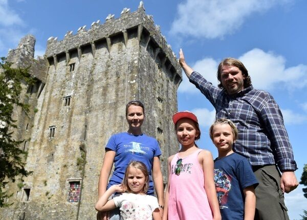 The Taule-Leikangers Viggo, Linda, Pernilla, Magnus, and Nora size up Blarney Castle during their visit yesterday. Picture: Eddie O'Hare