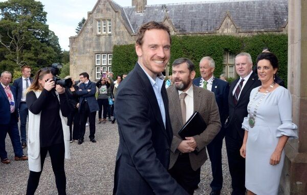 Michael Fassbender was led by a piper into the formal drawing room of Muckross House for a civic reception.