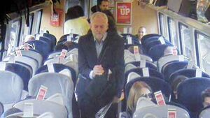 Jeremy Corbyn passed empty seats before sitting on train floor