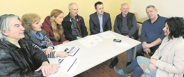 'Irish Examiner' reporter Catherine Shanahan, right, speaking with, from left, Jody Power, senior engineering lecturer, National Maritime College; Mary O'Leary, chairwoman, Chase; councillor Marcia D'Alton, Cork County Council; Gordon Dalton of the Marine and Renewable Energy Ireland; chartered marine engineer Paul Nash; John Twomey, Ringaskiddy Residents Association member; and Vivian Prout, Ringaskiddy resident
