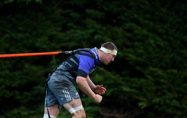 Brodie Retallick feels the strain during New Zealand training at Westmanstown, Co Dublin. Picture: James Crombie