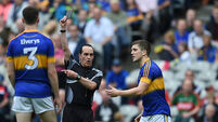 Robbie Kiely is shown a black card by referee David Coldrick 21/8/2016