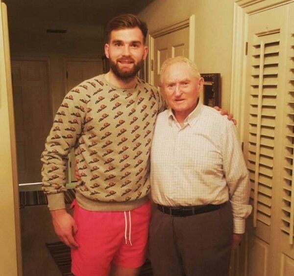 MEETING HIS HERO: Mayo footballer Aidan O'Shea with 1951 All-Ireland winner Pádraig Carney at his home in Long Beach, California when they met as part of 'The Toughest Trade' TV show. Picture courtesy of Aidan O'Shea's Instagram account