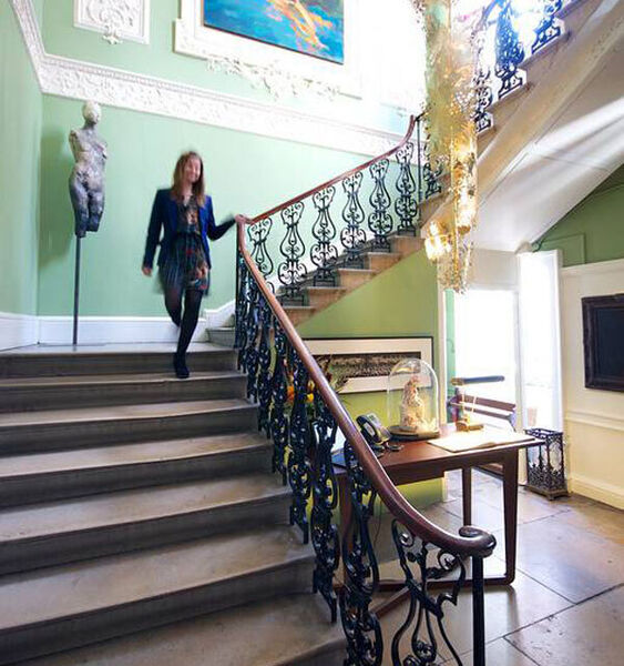 Staircase of a private members' club in London designed by Gráinne Weber Architects.