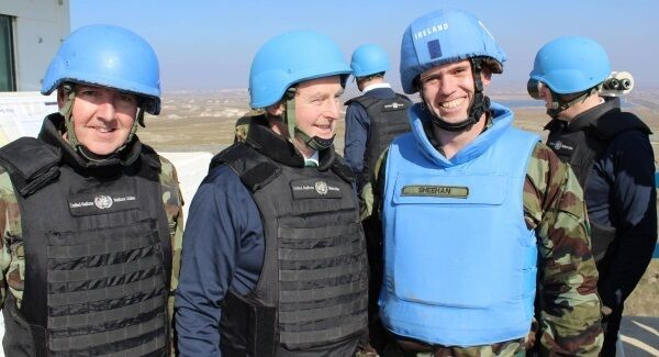 Taoiseach Enda Kenny and his travelling party donned blue helmets as they went to thank the troops at the Golan Heights and their families for their service.