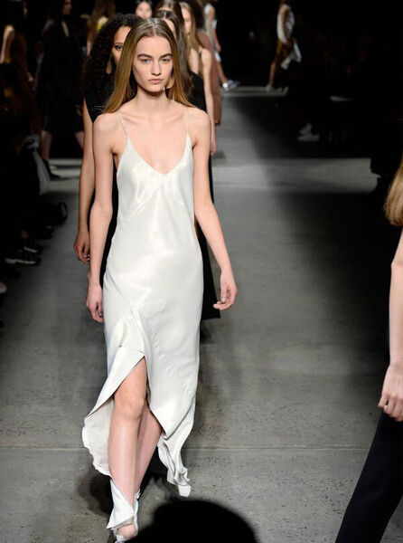 A models wears Narciso Rodriguez during New York Fashion Week in February in New York City. Picture: Fernanda Calfat/Getty