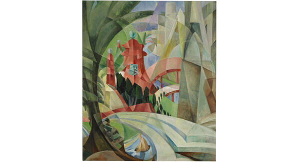 Cubist Landscape with Red Pagoda and Bridge by Mary Swanzy at Sotheby's.
