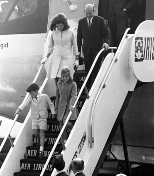 Jackie Kennedy with her children John Jr and Caroline arriving at Shannon Airport on June 15, 1967.