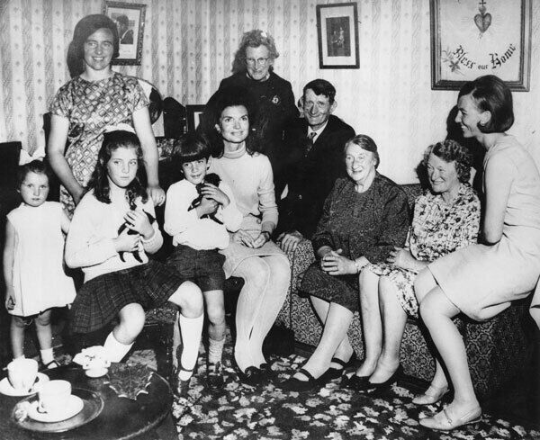 Jacqueline Kennedy with her children Caroline and John in the Kennedy ancestral home a t Dunganstown, Wexford, in June 1967, with Mary Ryan, Maeve Rowe, Josie Grennan , Mrs John Fenlon, James Kennedy, Margaret Kirwan, and Mary Ryan. Picture: London Central Press/Hulton Archive/Getty