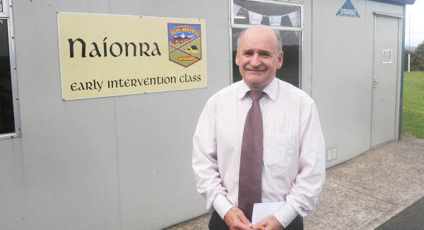 Liam Breathnach, principal, outside the first classroom for the Naíonra early intervention group at Berrings N.S