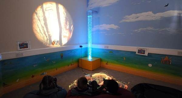 Pupils in the sensory room for children with autism at Berrings N.S. Picture: Denis Minihane.