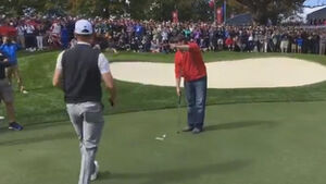 Heckler sinks shot that Rory McIlroy couldn't during Ryder Cup practice round