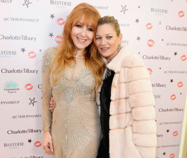 Charlotte Tilbury, left, and with Kate Moss , who is godmother to her children. Tilbury is more than a make-up artist to the stars, she is also their friend and is more than happy to name-drop.