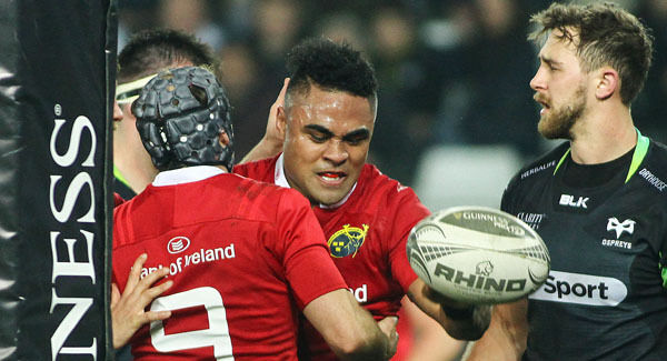 Francis Saili of Munster celebrates after scoring his sides second try during the Guinness PRO12 Round 15 match between Ospreys and Munster at the Liberty Stadium in Swansea, Wales. Photo by Darren Griffiths/Sportsfile
