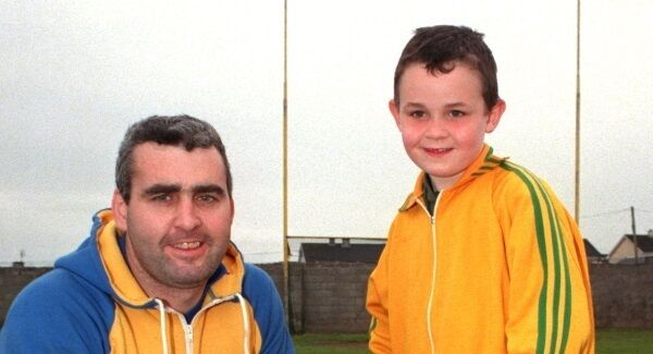 Tommy Guilfoyle with his son Gary in 1998 after taking time out from a coaching session. Picture: Denis Minihane