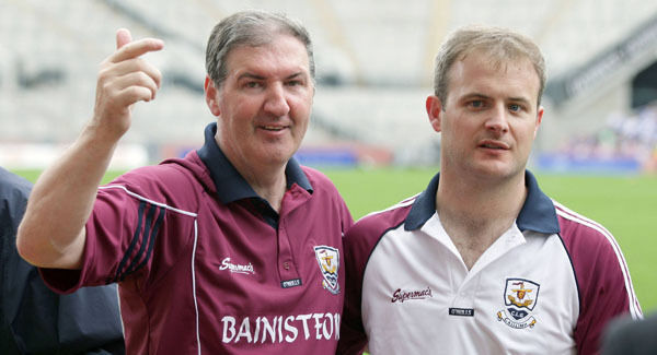 Galway U21 manager Vincent Mullins with selector Micheál Donoghue after the 2007 U21 final win over Dublin. Picture: Joe Shaughnessy