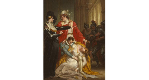 A Woman Swooning: Trio of Soldiers Beyond by Daniel Maclise (1806-1870) at Whyte's art sale in Dublin on February 27. (€4,000-6,000)