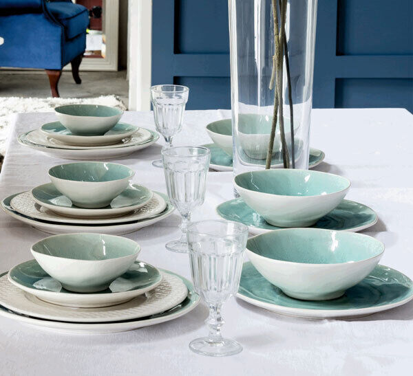 The Beth tableware from Harvey Norman plays to the summer season's blue theme, set against a plain white cloth and vintage style glasses (crockery from €8-€20).