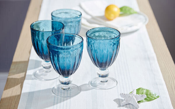Tinted glasses are on-trend, especially with vintage styling. The Meadows & Byrne Bubble glasses in blue are suitable for wine and water (€6.95 each or four for €29.80).