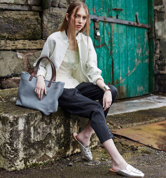 Baby Alabama Worley tote by The Kinsale Leather Co, €215, kinsaleleather.com; Plexus cuff by Maria Dorai Raj, €440, and ring by Tuula Harrington, €600, Designworks Studio; Stonewall bomber by Keem, €390, Made; Lia corset by Delphine Grandjouan, €750, www.delphinegrandjouan.com trousers by Jessica Joan Donnelly, €138, Design Centre; necklace by Capulet & Montague, €68, Atelier 27. (Shoes, €11, Penneys.)