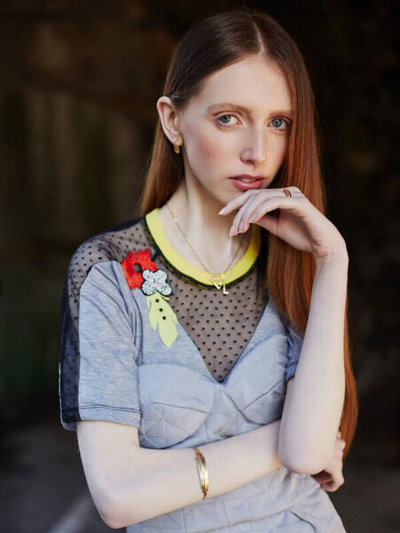 Beaded and embroidered T-shirt by Jill de Búrca, €150, Made; Deirdre corset dress by Delphine Grandjouan, €1,250, www.delphinegrandjouan.com initial necklace by Juvi, €54 , Kilkenny Shop; Lacuna necklace, €135, Namara ring, €110, bangle, €150 and earrings, €125, all by Inner Island, www.innerisland.ie