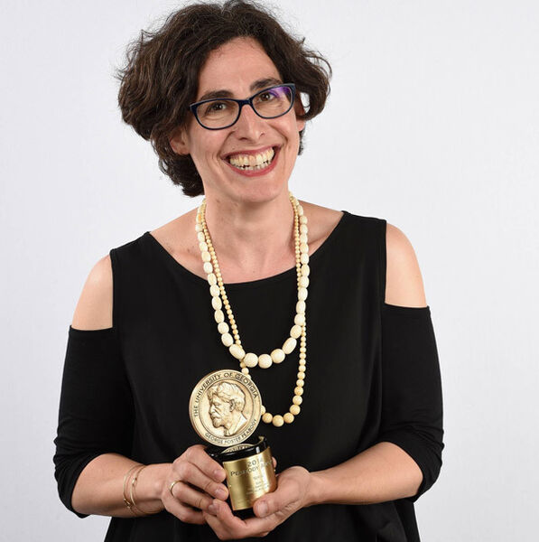 'Serial' host Sarah Koenig poses with her award at the 74th annual Peabody Awards at Cipriani Wall Street on May 31, 2015. Picture: Mike Coppola/Getty Images
