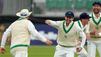 Paul Stirling, Ed Joyce, William Porterfield and Andrew Balbirnie celebrate the dismissal of Azhar Ali bowled by Tim Murtagh  15