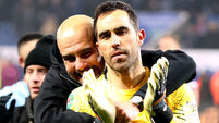 Bravo heroics keep Man City's quadruple dream alive