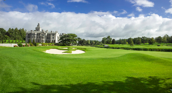 A panoramic shot of the stunning par five 18th hole at the redesigned Adare Manor resort.