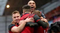 Keith Earls celebrates his try with Rory Scannell, Conor Murray and Simon Zebo 21/1/2018