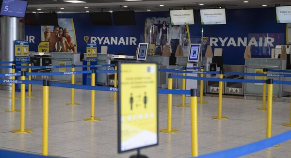 An empty Ryanair check in area at Terminal 1, Dublin Airport. Picture Colin Keegan, Collins Dublin