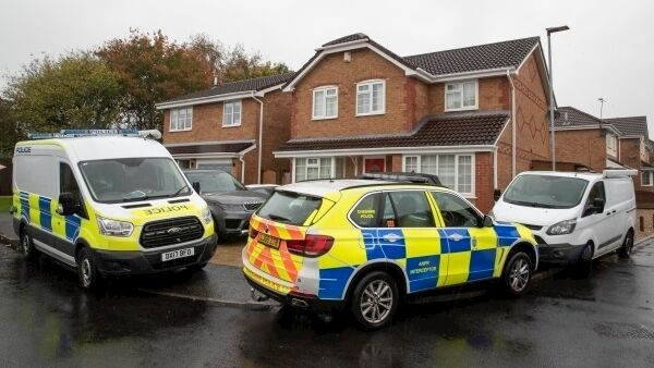 Police outside the house of Joanna and Thomas Maher in Warrington. Picture: Jason Roberts/PA Wire