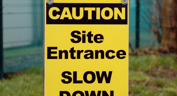 A construction site entrance sign in Co. Cork. Picture Denis Minihane.