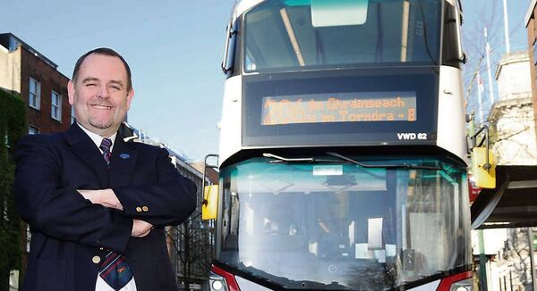 Vincent Morrissey drives the 206 bus to Grange in Cork. He says that although passenger numbers have fallen sharply since the lockdown began, 'a lot of people are in supermarket uniforms and there are some nurses'. Pictures: Denis Minihane.
