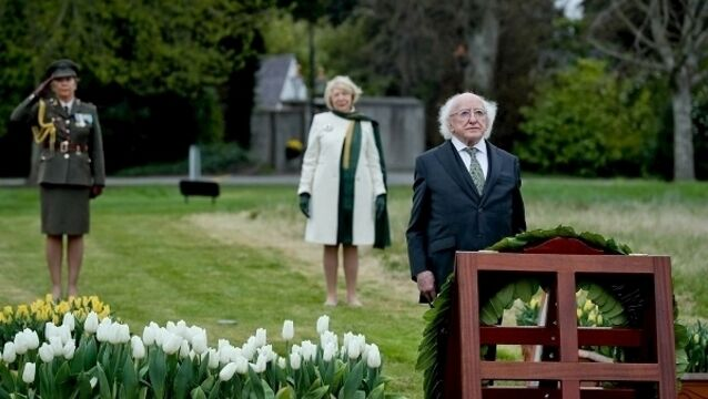 President Higgins lays a wreath at a group of 16 birch trees planted by himself and Sabina in honour of the revolutionaries executed after the 1916 Rising in the gardens of Áras An Uachtaráin. Picture: Maxwells