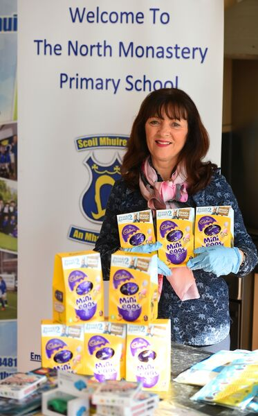 North Monastery school secretary Cait Linehan in charge of the Easter eggs