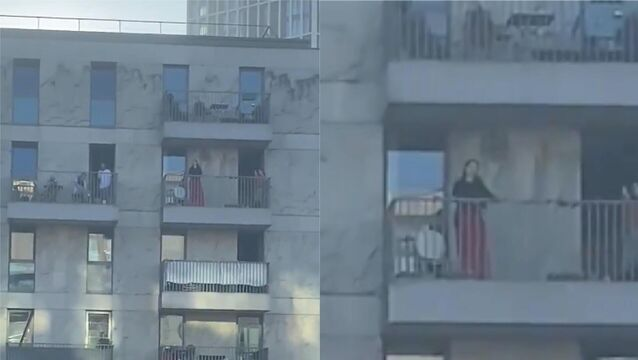 Opera singer performs from her balcony to lift spirits of neighbours in lockdown