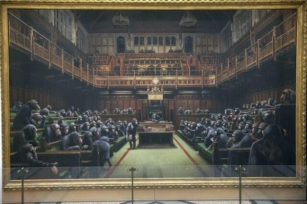 The painting 'Devolved Parliament'  on show at Bristol Museum (Steve Parsons/PA)