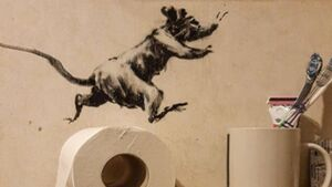 Banksy releases images of new work created in Covid-19 lockdown – in his bathroom