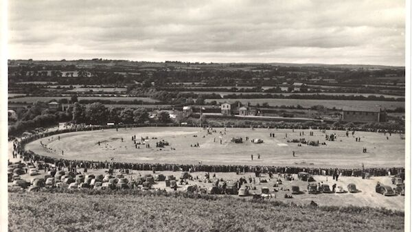 1953: The banked, cinder track at Banteer, north Cork. It was one of Ireland's most advanced tracks at a time when track-racing was the main form of cycling competition. A 5-mile race is in progress. Mick Murphy came to Banteer to prepare for the 1958 Rás.
