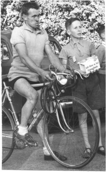 Mick Murphy in the Yellow Jersey at the finish of stage 3 in Clonakilty, Co. Cork, 1958.
