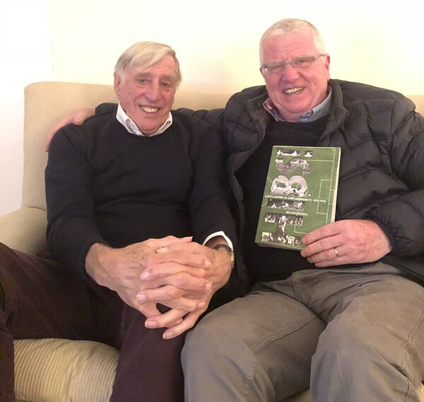 Dave Bacuzzi, left, with Michael Russell at Dave's home in Sandyford, Dublin, in 2018.