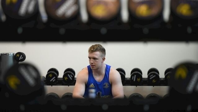 Dan Leavy during a Leinster gym session last December. Photo by Ramsey Cardy/Sportsfile