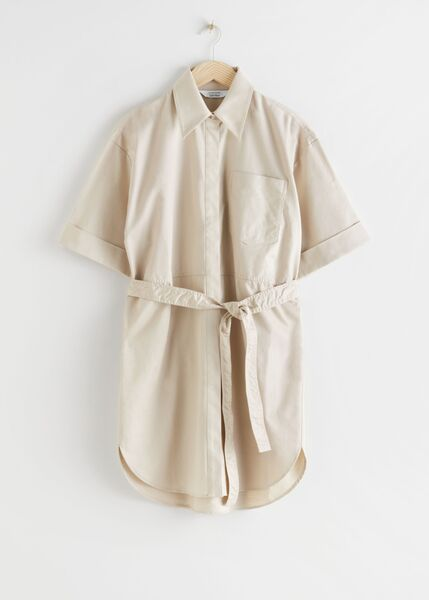 Organic cotton linen topstitched utility shirt dress, Other Stories,€79